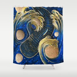 Celestial Whale Shark Shower Curtain