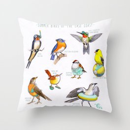 Summer Birds of the East Coast Throw Pillow