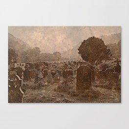Irish Graveyard | Sepia Graveyard | Halloween Landscape Canvas Print