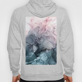 Blush and Payne's Grey Flowing Abstract Painting Hoodie