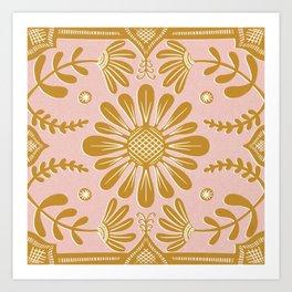 Boho Florals Yellow White Pink Art Print