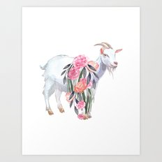 goat with flower crown Art Print