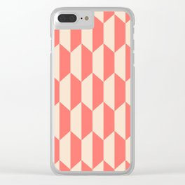 Classic Trapezoid Pattern 238 Coral and beige Clear iPhone Case