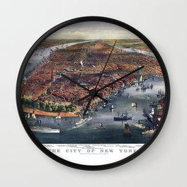 Gang of new york city old map Father Day art print poster Wall Clock