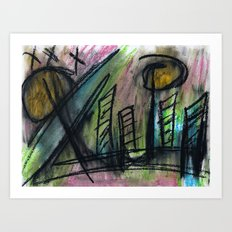 These Sketchy City Streets Art Print