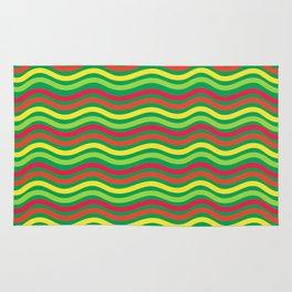 Digital Art Waves Multicolored Rug
