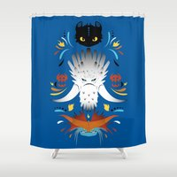dragons Shower Curtains featuring Trained Dragons by Ashley Hay