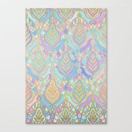 Jade & Blue Enamel Art Deco Pattern Canvas Print