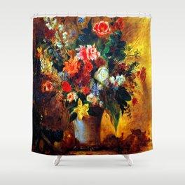 Eugene Delacroix Still Life of Flowers Shower Curtain