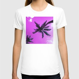 Palm Trees In Lilac Orchid Sunrise Tropical Sky T-shirt