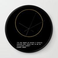 camus Wall Clocks featuring Albert Camus by Polish Miss