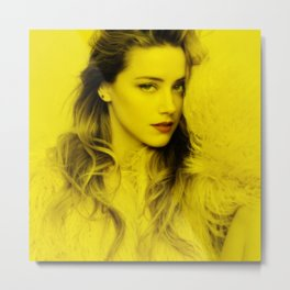 Amber Heard - Celebrity (Florescent Color Technique) Metal Print