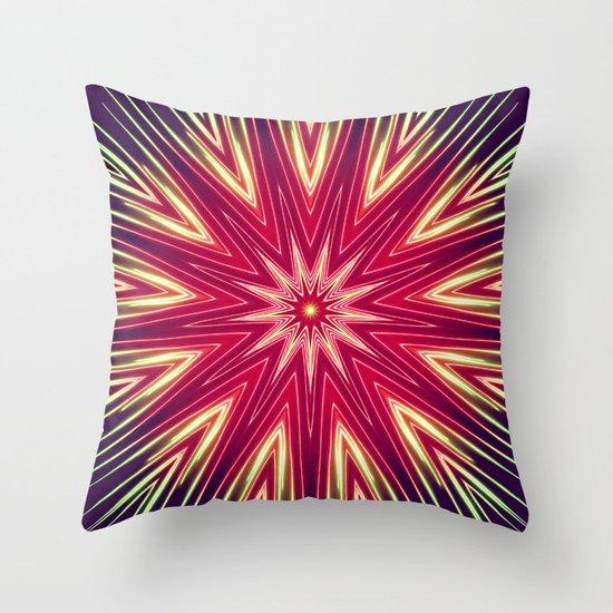 Neon Burst Throw Pillow