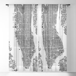 New York city map black and white Sheer Curtain