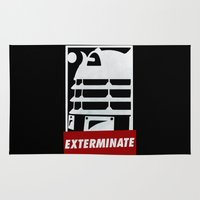 obey Area & Throw Rugs featuring EXTERMINATE! OBEY! by Greeting From Space