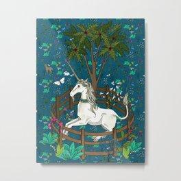 Unicorn Tapestry: the Unicorn in Captivity Metal Print