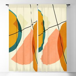 mid century geometric shapes painted abstract III Blackout Curtain