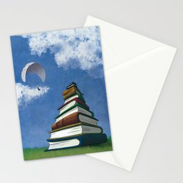 Paragliding - Mountain of Books Stationery Cards