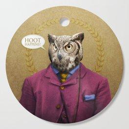 "Mr. Owl says: ""HOOT Happens!"" Cutting Board"