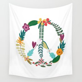Floral Peace Sign Wall Tapestry