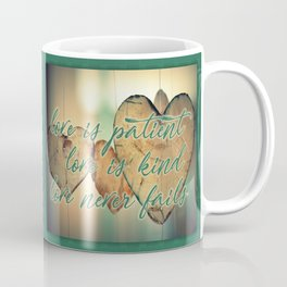 Romantic Wood Hearts Rustic Love Quote Bible Verse Coffee Mug