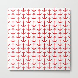 Preppy Nautical - Seaside Pattern - Red Anchor Metal Print