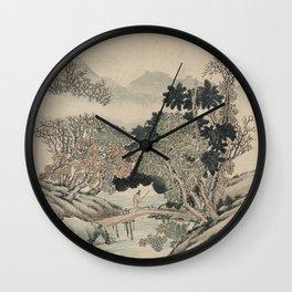 Vintage Japanese Landscape Painting Wall Clock