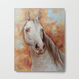 Grey Horse Portrait Autumn Scenic Painting Equine Art Decor for horse lover Metal Print