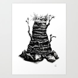Stubborn tree Art Print