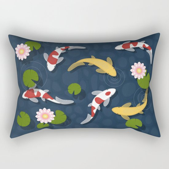 Japanese Koi Fish Pond Rectangular Pillow