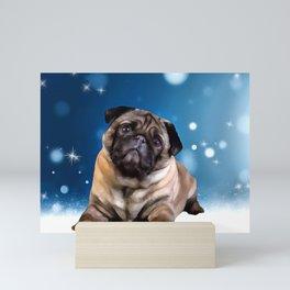 A Pug for Christmas. (Painting) Mini Art Print