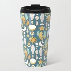 Bohemian spirit // dark turquoise background Metal Travel Mug
