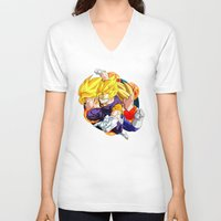 dbz V-neck T-shirts featuring DBZ - Goku, Vegeta and Vegeto by Mr. Stonebanks