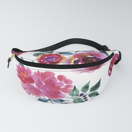 Red roses pattern watercolors illustration Fanny Pack