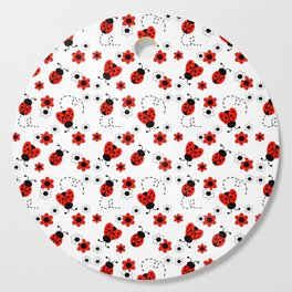 Red Ladybug Floral Pattern Cutting Board