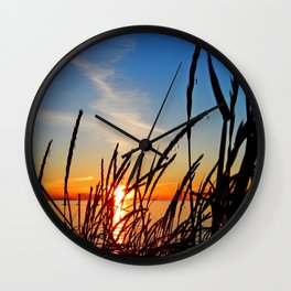 Sunset Through the Beach Grass Wall Clock