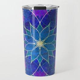 Lotus 2 - blue and purple Travel Mug