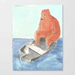 Owl and Tern are joined by A Bear Canvas Print