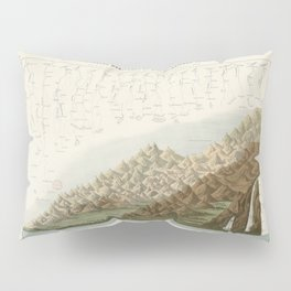 Vintage Print - Comparison Chart of the Main Mountains and Rivers in Haute-Loire (1871) Pillow Sham