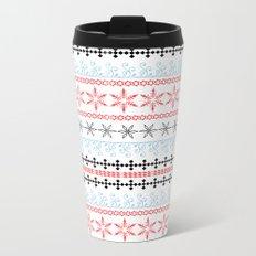Christmas ornament. Blue,black, red pattern on white background. Metal Travel Mug