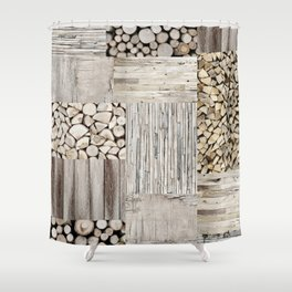Wood Collage rustic weathered Shower Curtain