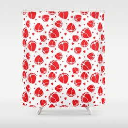 Baby Feet and Hearts Seamless Pattern in red color Shower Curtain