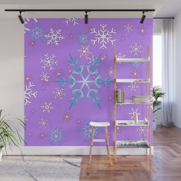 LILAC PURPLE WINTER SNOWFLAKES Wall Mural