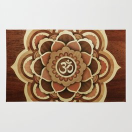 Patience and lucky of harmony mandala from wood handmade marquetry Rug