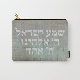 Shema Israel - Hebrew Jewish Prayer with Kotel Carry-All Pouch