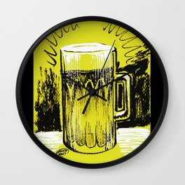 Beer_Yellow Wall Clock