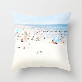 Blue Beach Brooklyn Throw Pillow