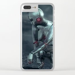 Girl and Android (Futurism) Clear iPhone Case