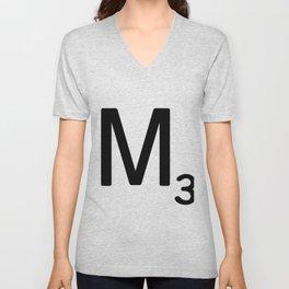 Letter M - Custom Scrabble Letter Tile Art - Scrabble M Initial Unisex V-Neck