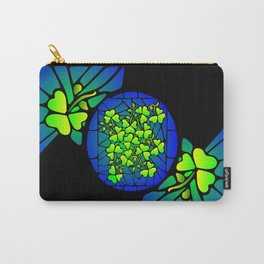 Stained Glass Shamrocks Carry-All Pouch